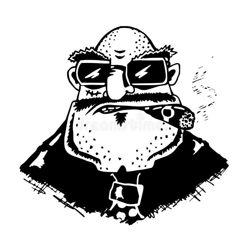 黑手党头  有雪茄的上司在他的嘴 厚实的傲慢秃头人 在黑玻璃的商人 富人讽刺画  向量 向量例证