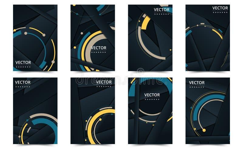 Set of black cover template for brochure, report, catalog, magazine, book, booklet 创意向量概念 矢量插图 向量例证