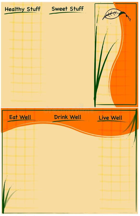 手册折叠食物健康模板三向量 库存例证