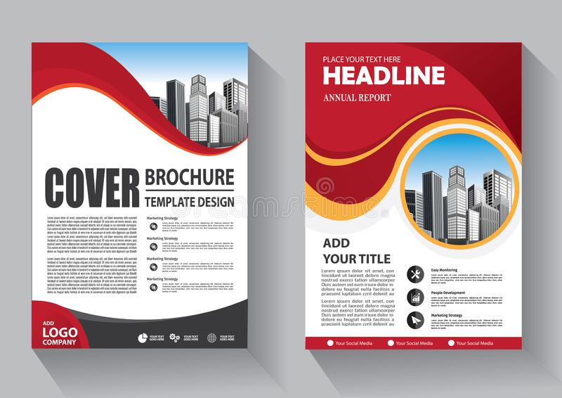 手册模板布局、封面设计年度报告、杂志、传单或小册子背景 库存例证