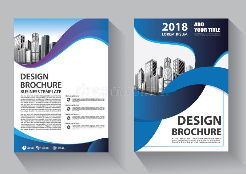 手册模板布局、封面设计年度报告、杂志、传单或小册子背景 皇族释放例证