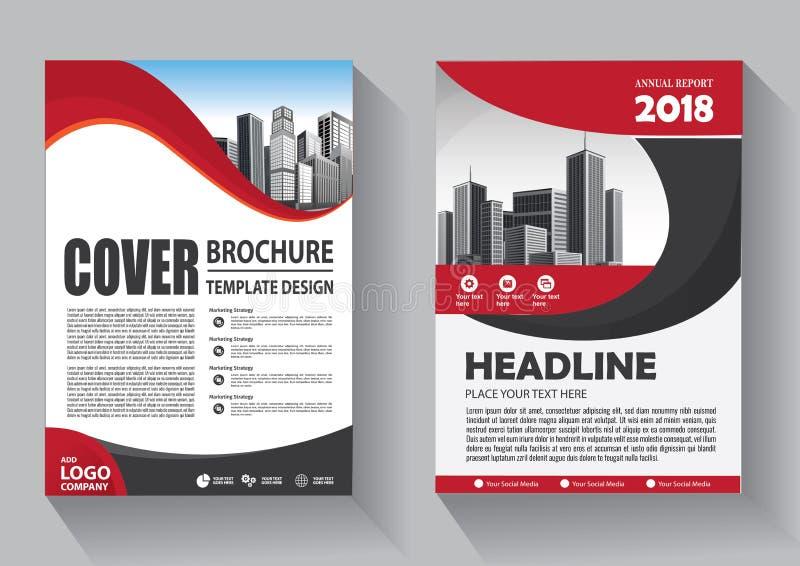 手册模板布局、封面设计年度报告、杂志、传单或小册子背景 向量例证
