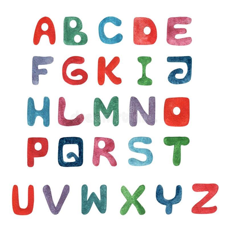 手写五颜六色的水彩水彩画字体的类型 库存例证