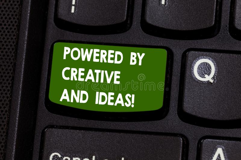 手写创造性和想法供给动力的文本文字 概念意思强有力的创造性创新好能量 库存图片