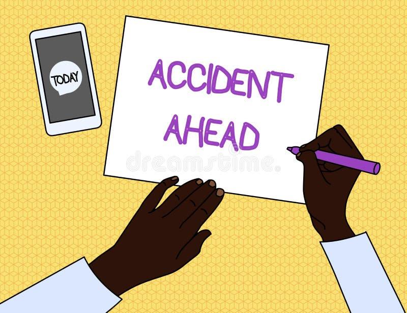 手写前面文本事故 概念意思不幸的人事件是准备的改道避免尾板顶视图人 库存例证