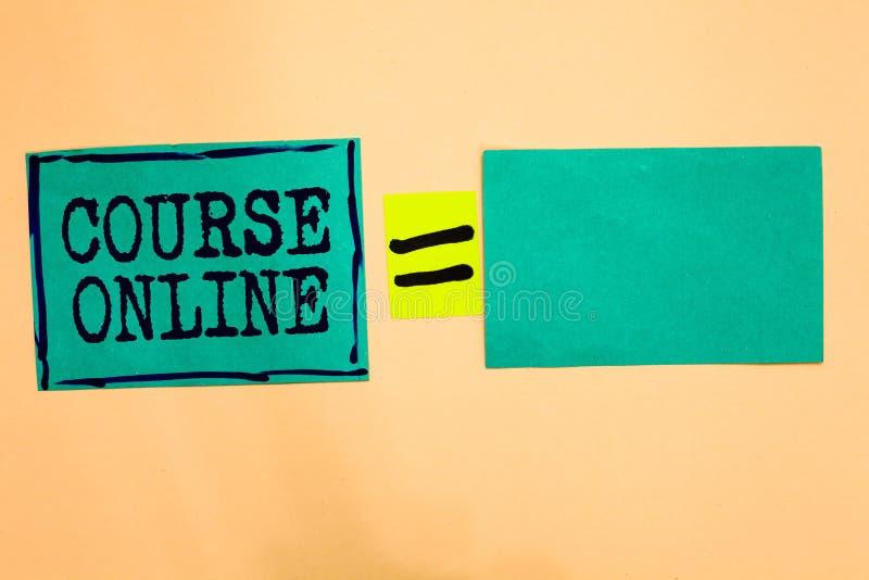手写在网上文本路线 概念意思电子教学电子教育遥远的研究数字式类绿松石纸注意r 免版税库存照片