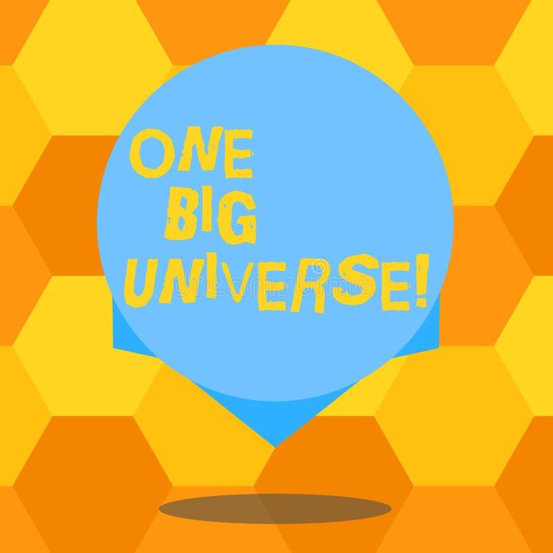 手写文本一大宇宙 意味所有现有的问题和空间的概念被考虑作为整个空白的色环 库存例证