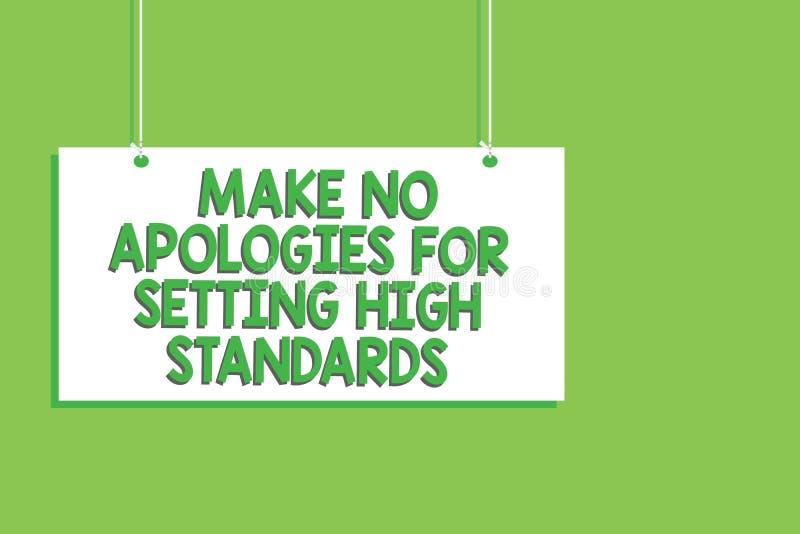 手写文本不做出为规定高标准的道歉 概念意思寻找的质量生产力垂悬的委员会消息 皇族释放例证