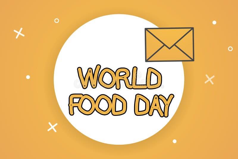 手写文本世界粮食日 概念意思世界天行动致力应付全球性饥饿 皇族释放例证