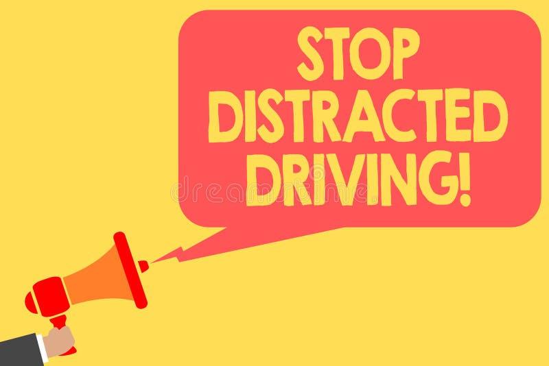 手写文本中止分散的驾驶 要求概念的意思小心在轮子驱动后慢慢地供以人员拿着扩音机卢霍 向量例证
