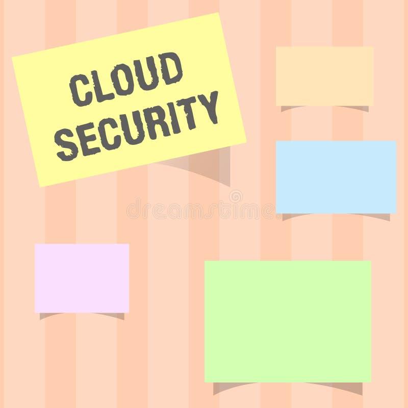 手写文本云彩安全 概念意思保护被存放的信息安全受控技术 向量例证