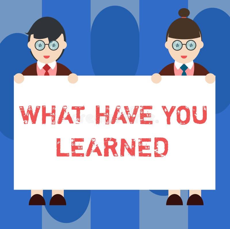 手写文本什么有您Learnedquestion 概念意思告诉我们您的新知识经验男性和女性  库存例证