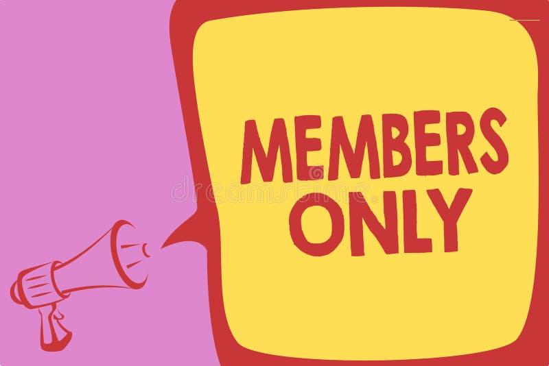 手写文本仅文字成员 概念意味被限制到个体属于小组或组织扩音机lo 皇族释放例证