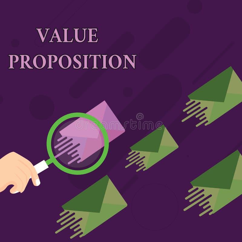 手写文本价值提议 概念意思特点意欲做公司或产品有吸引力扩大化 库存例证