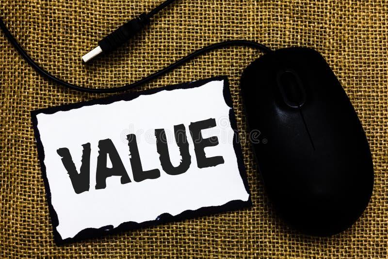 手写文本价值 概念意思或某人被认为高度重大贵重物品USB黑色老鼠艺术板某事pap 图库摄影