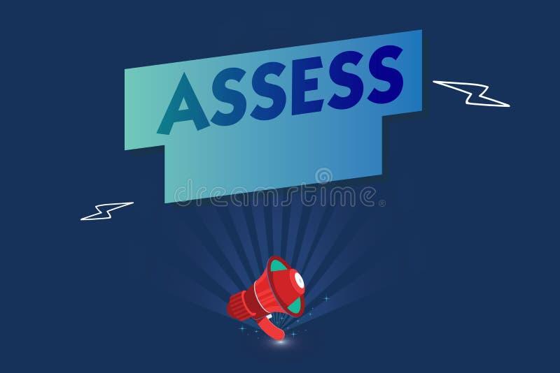 手写文本估计 概念意思评估或估计产品服务的自然能力质量 库存例证