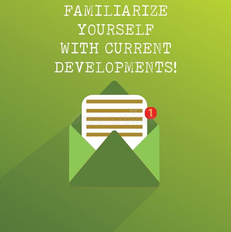 手写文本使自己熟悉当前趋向 概念意思是开放最新最新的技术 库存例证