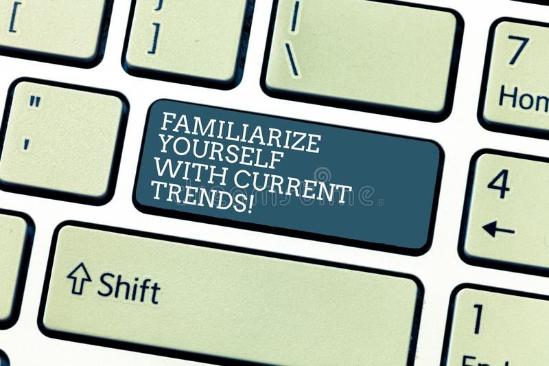 手写文本使自己熟悉当前趋向 概念意思是最新最新的技术键盘 向量例证