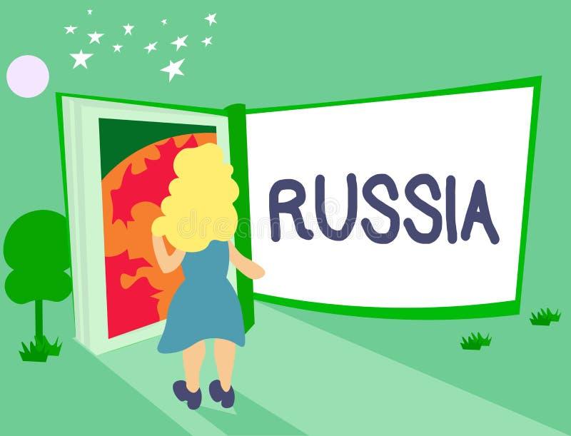 手写文本俄罗斯 概念意思世界最大的国家毗邻欧洲亚洲国家和海洋 库存例证