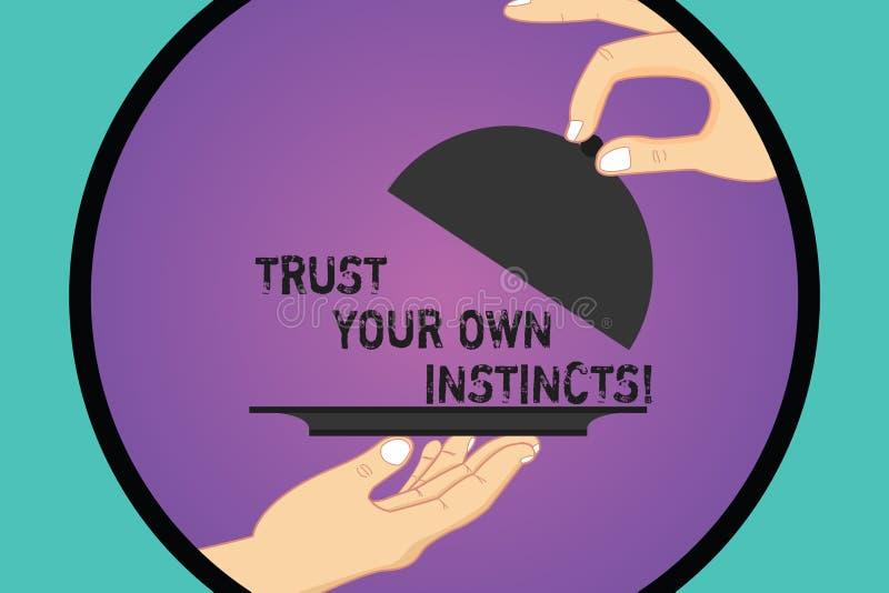 手写文本信任您自己的天性 直觉概念的意思跟随demonstratingal感觉信心胡分析手 皇族释放例证