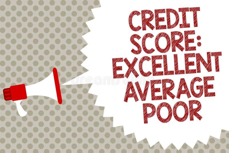手写文本信用评分优秀一般的贫寒 概念creditworthness规定值报告扩音机扩音器的意思水平 库存例证