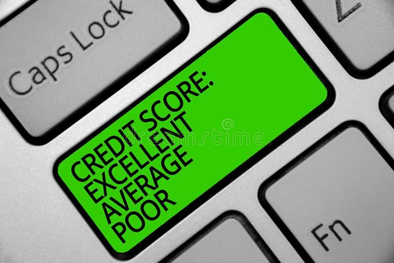 手写文本信用评分优秀一般的贫寒 概念creditworthness规定值报告键盘绿色钥匙的意思水平 向量例证