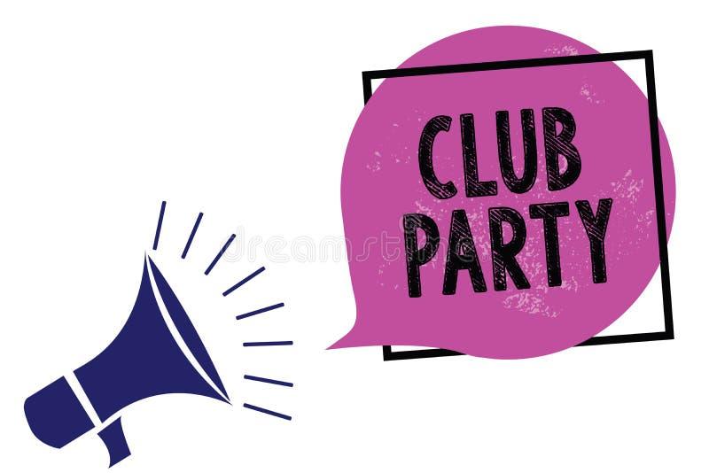 手写文本俱乐部党 意味社会汇聚的概念在是不拘形式的,并且可能有饮料扩音机loudspeake的地方 向量例证