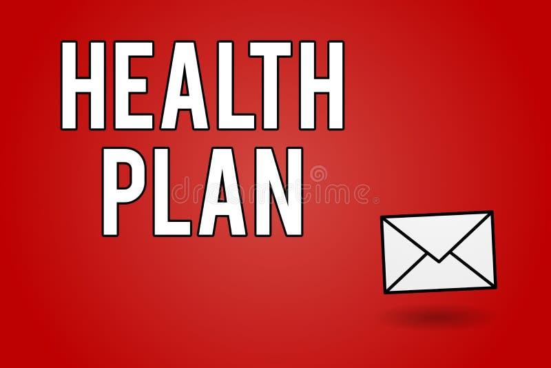 手写文本健康计划 意味为它的成员提供医疗的任何战略的概念 向量例证