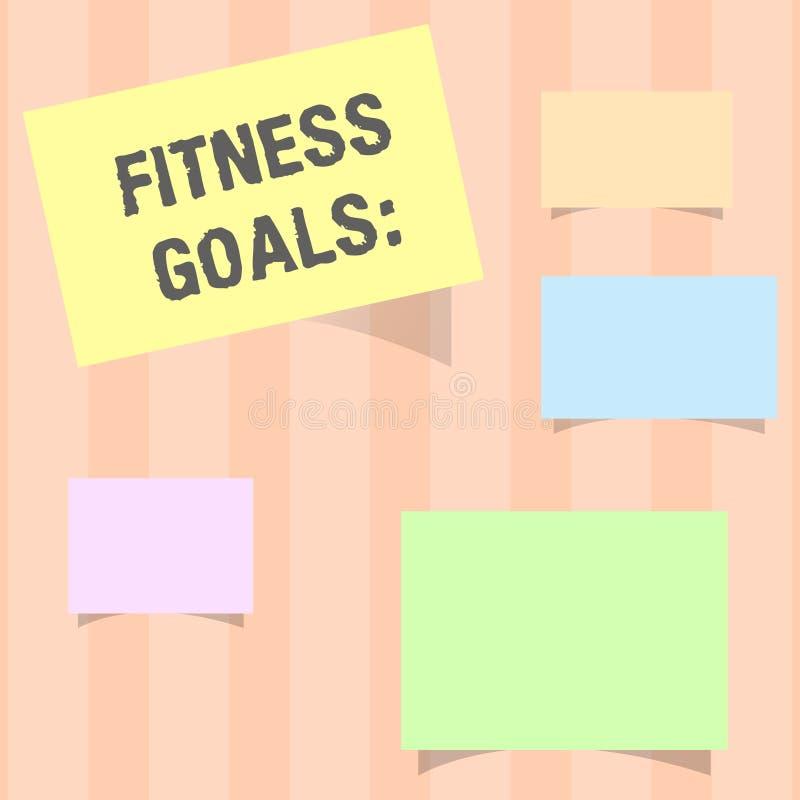 手写文本健身目标 意味宽松肥胖修造肌肉的概念得到更强适应 库存例证