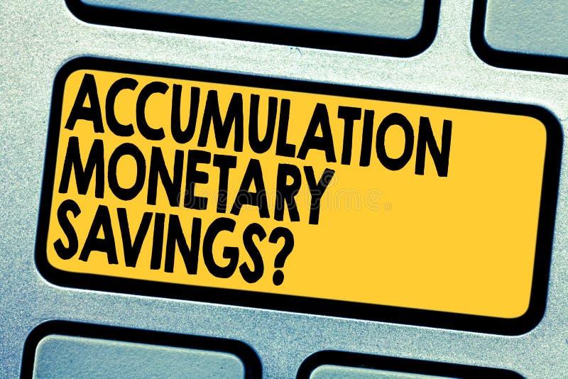 手写文本储积金钱Savingsquestion 意味在金融性资产键盘键的概念增量 库存照片