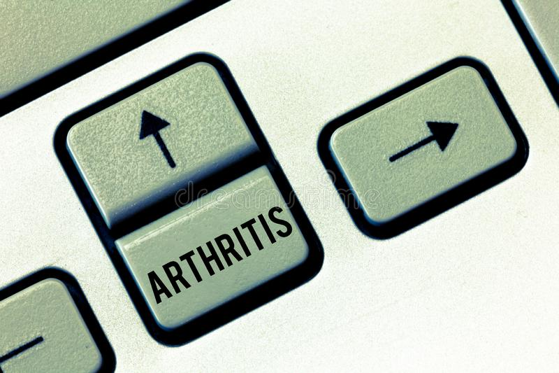 手写文本关节炎 概念导致联接的痛苦的炎症和僵硬的意思疾病 免版税库存图片