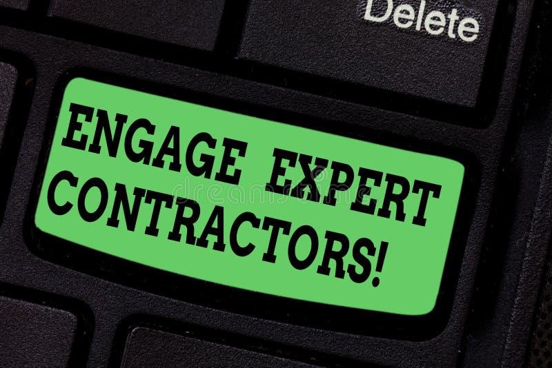 手写文本写允诺专家的承包商 概念意思聘用的熟练的outworkers短时间运作键盘键 向量例证