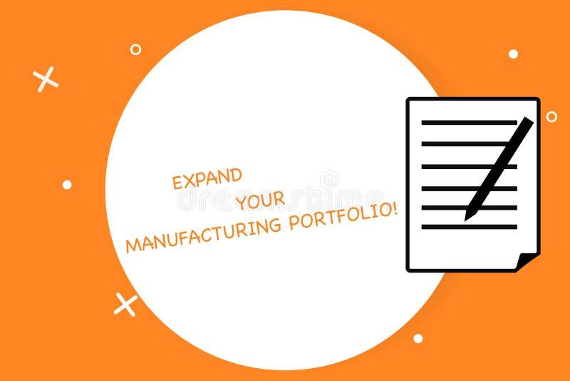 手写文本写扩展您制造的股份单 概念意思做更大的编目产品板料  库存例证