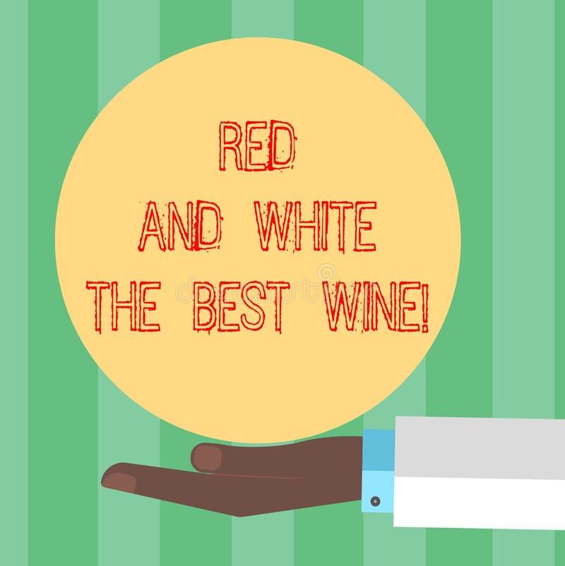 手写文本写红色和白色最佳的酒 概念意思最美好的酒精饮料酿酒厂品尝专家的胡 皇族释放例证