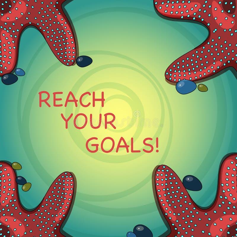 手写文本到达您的目标 概念意味达到什么您要是完成的梦想或做名单海星 皇族释放例证