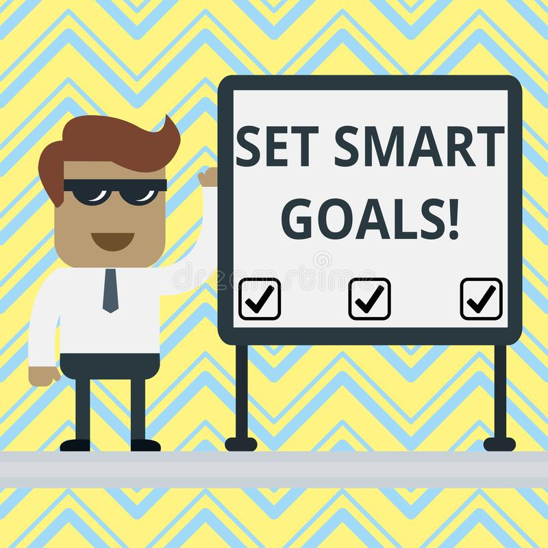 手写文本制定了聪明的目标 概念澄清您的想法的意思名单聚焦努力明智地使用时间 库存例证