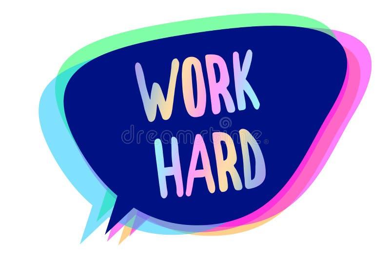 手写文本努力文字工作 概念付出努力做和完成的意思劳动分配讲话泡影想法m 向量例证