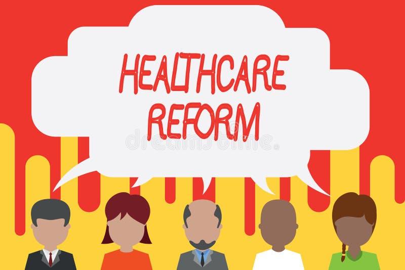 手写文本医疗保健改革 意味创新和改善进入关心节目五的质量的概念 皇族释放例证