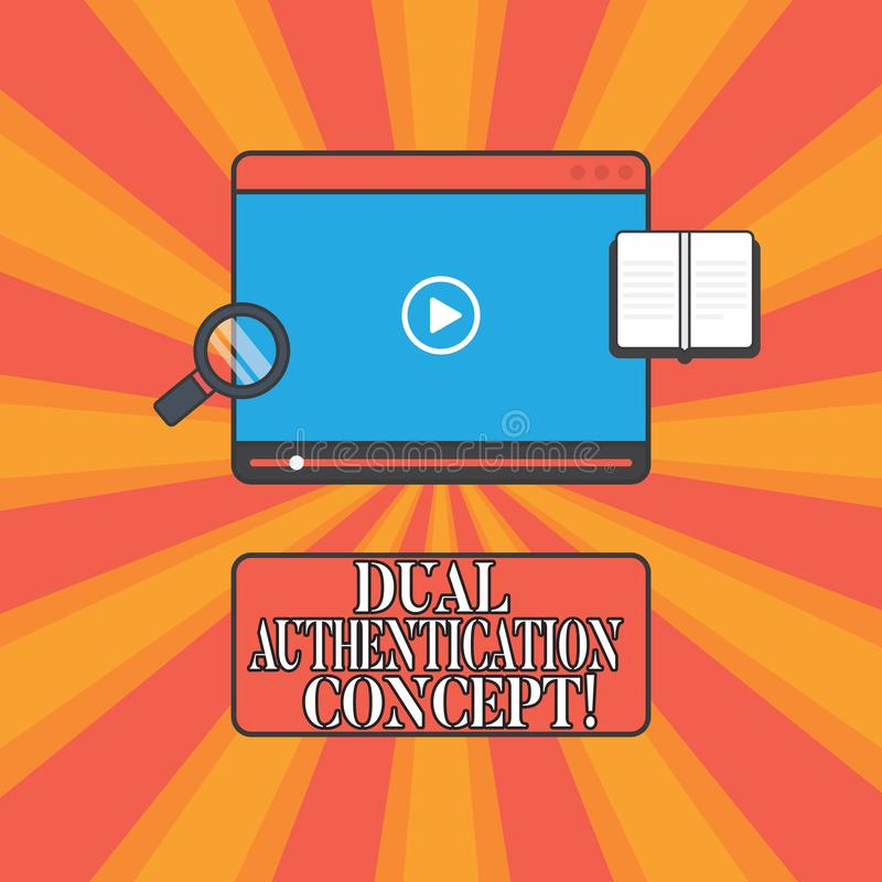 手写文本双重认证概念 概念意思需要证件的两种类型认证片剂图象播放机的 向量例证