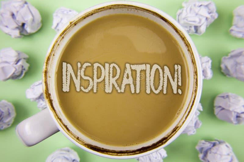 手写文本启发诱导电话 概念要感觉或做事的意思刺激在茶写的创造性在whi 免版税库存图片