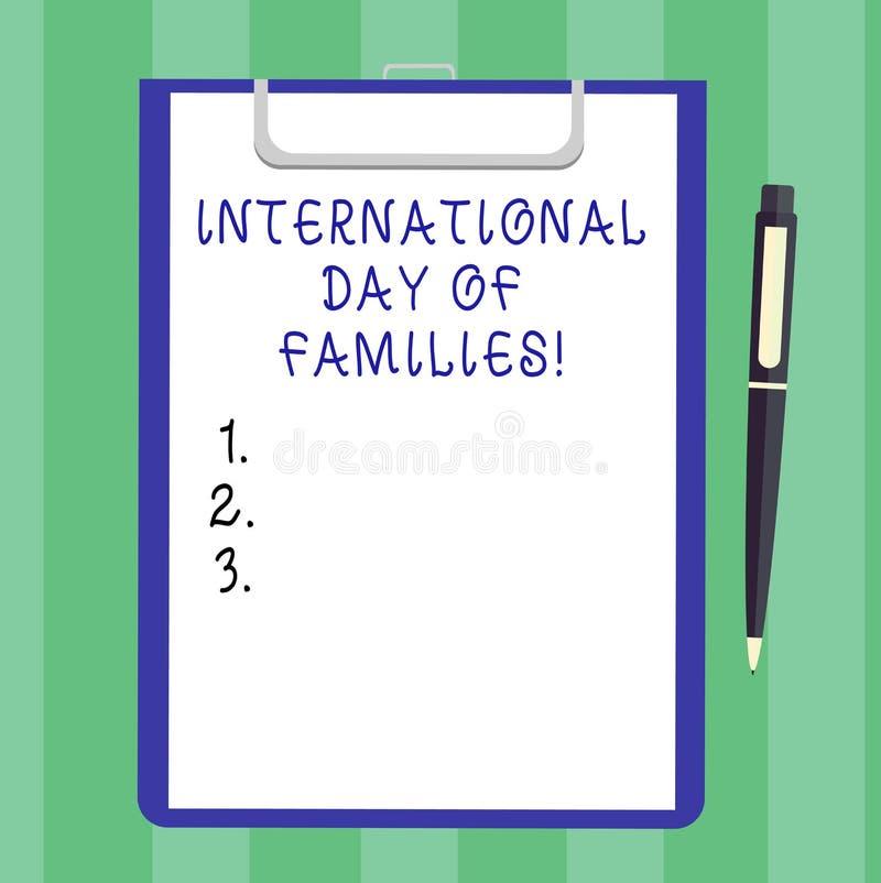 手写文本国际天家庭 证券纸概念意思家庭时间统一性庆祝空白纸  库存图片