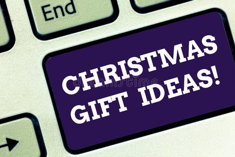 手写文本圣诞礼物想法 概念最佳的礼物的意思建议能给在圣诞节键盘 库存照片
