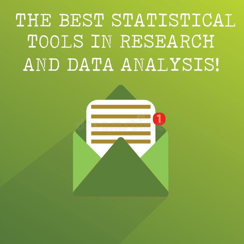 手写文本在研究和数据分析的最佳的统计工具 概念意思优质应用程序开放消息信封 免版税库存图片