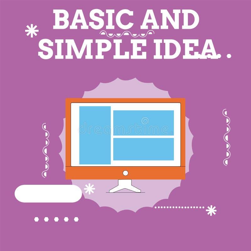 手写文本基本和简单的想法 意味简单的心理意象或建议的概念共同的悟性 库存例证