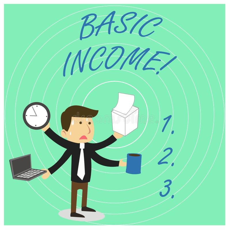 手写文本基本的收入 概念意思周期性现金支付绝对地提供了被注重的最低收入 库存例证