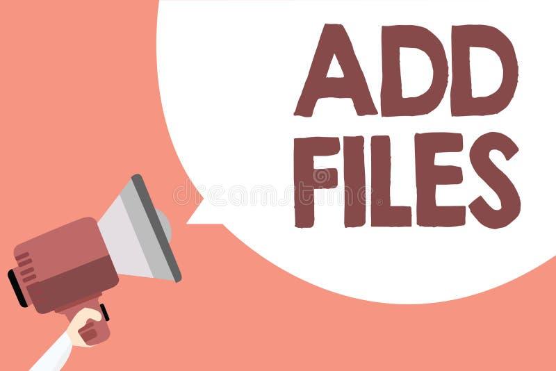 手写文本增加文件 投入更多信息的概念意思对某一人、事或者文件扩音机扩音器lo 皇族释放例证