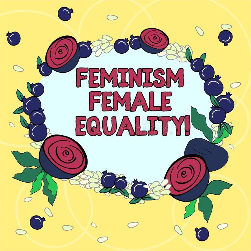 手写文本女权主义女性平等 意味妇女s的拥护概念是在花卉花圈做性的平等的权利 皇族释放例证