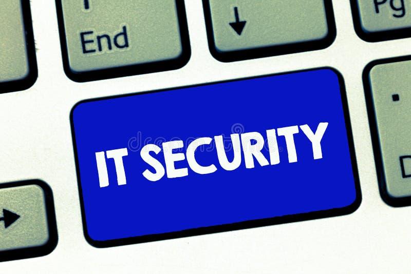 手写文本它安全 概念互联网的意思保护连接了从网络攻击的系统 图库摄影