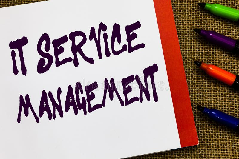 手写文本它服务管理 概念技术之前的政策生命周期指挥的平均活度开放 库存照片
