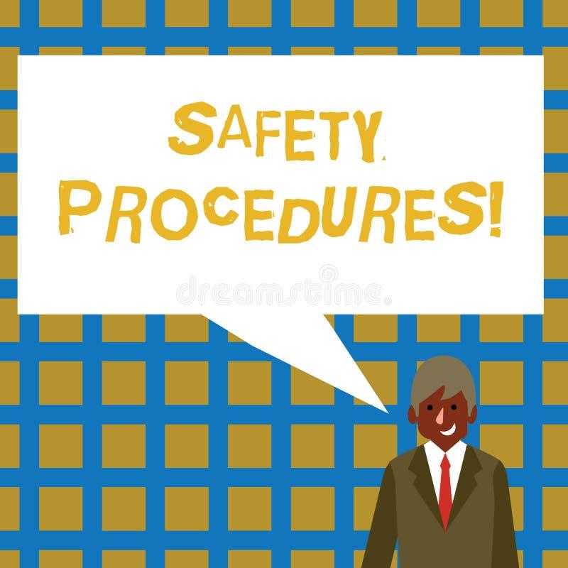 手写文本安全程序 概念意思遵守条例工作场所安全商人的 向量例证